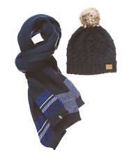 Womens Becki Navy Knitted Beanie and Scarf From Animal