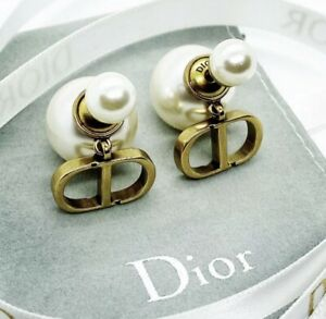 DIOR TRIBALES EARRINGS ANTIQUE GOLD FINISH METAL AND WHITE RESIN PEARLS