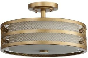Semi-Flush Mount Light 3-Light Steel in Antique Gold Finish with Drum Shade