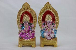 LAXMI GANESH LAKSHMI GANESHA HANDMADE CLAY STATUE DIWALI HINDU GOD DIWALI Puja