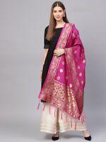 Indian Banarasi Art Silk Pink Dupatta Wrap Scarf Stole Casual Ethnic Chunri