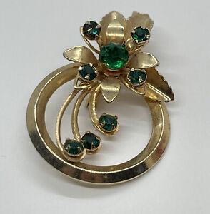 Lapel Pin Brooch Modernist Green Rhinestone Flower Gold Tone