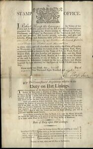 1808 RARE 5/- STAMP OFFICE GR - HAT LICENCE to Richard Belton of ALNWICK