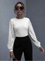 Lace Blouson Sleeve Crop Top White Size Medium From Shein New Eu 38 Us 6 Petite