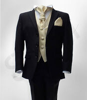 Boys Formal Black Wedding Suits 5 Pieces Pageboy Cravat Suit Age 6 M To 15 YRS