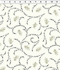 Swirl on White - Elcott Park for Clothworks Fabrics HALF YARD