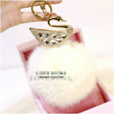 LUXURY RHINESTONE PENDANT CRYSTA SWAN WITH WHITE FUR BALL PURSE CHARM  KEYCHAIN
