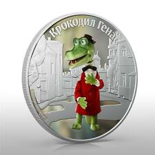 Cook Islands 2011 $5 Cartoon Cheburashka Gena the Crocodile 1 Oz Silver Coin