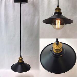 "Black Metal Industrial Pendant Light Chandelier Hanging Lamp Farmhouse 8"" ""Vtg"""