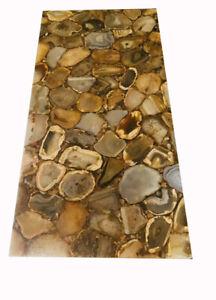 "36"" x 22"" yellow Agate table Top Marble semi precious stones Art home decor"