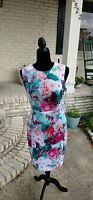 Calvin Klein Women's Floral Scuba Sheath Dress! NWT Size 12 Khaki Multi