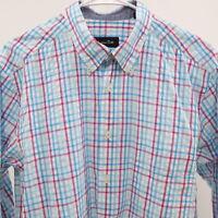 Massimo Dutti Shirt Button-Down Mens XL Plaid Check White Blue Pink Cotton