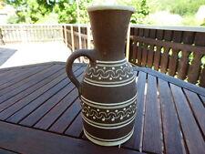 Vintage-Vase Ton/Krug mit weißem Dekor 60/70er Jahre mit Henkel (handgefertigt)