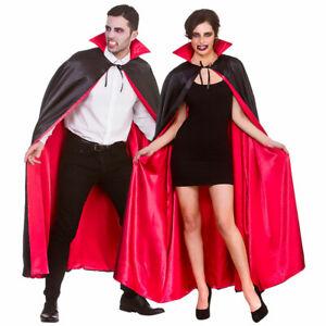 Long Vampire Cape Mens Dracula Vampiress Ladies Halloween Fancy Dress Robe