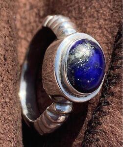Lapis Lazuli Ring Size N Stirling Silver 925 Solid Cushion Set Deep Blue Crystal