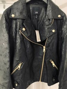River Island Black Embossed Biker Jacket Size 12 NEW Collection 2021 RRP£65