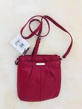 Calvin Klein Handbag Pebble Leather Crossbody H2REA868 Red Crimson Purse New