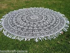 Indian Black & White Mandala Tapestry Roundie Round Beach Throw Sunbath Yoga Mat