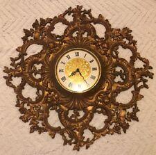 "Huge Vintage 25"" SYROCO Stunning Ornate Gold Wall Clock Hollywood Regency"