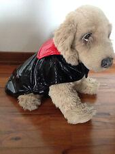 abbigliamento cane impermeabile lucido in finta pelle nera misura cm. 25