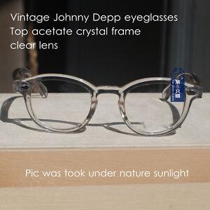 Retro Johnny Depp eyeglasses acetate mens crystal clear frame RX eyewear Large