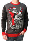 Ugly Christmas Sweater Men's Live To Ride Santa Pullover Sweatshirt