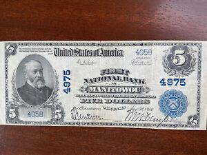 1902 $5 National Bank Note - Manitowoc, WI