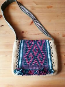 "Boho Handmade Merino Wool Bag With Vintage Woven Tapestry Decor (12.5""X10"")"