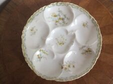 Oyster Plate Antique Authentic Limoges w Green & Blue Flowers c1888-1896, op54