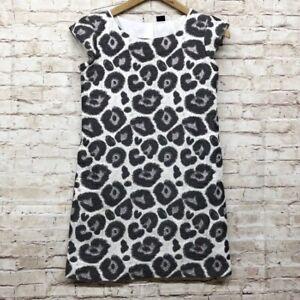 Gap Kids Girls Jacquard Dress Size L (10) Cap Sleeve Animal Print Ivory