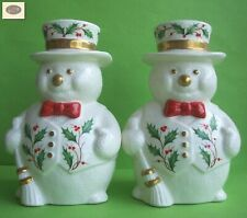 Lenox Home For The Holidays Snowman Candlesticks - Set Of 2 - In Original Box