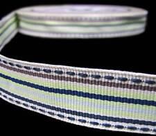 25 Yds Rare HTF Fancy Pants My Family Green Blue Stitch Stripe Grosgrain Ribbon