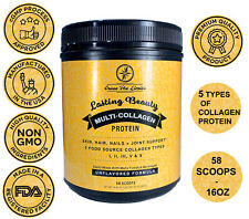 Multi Collagen Protein Powder 1 LB - 5 Types of Collagen  Hair Skin Nails Joints