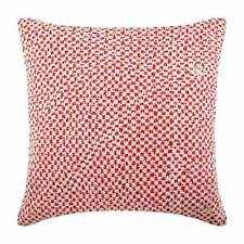 Handmade 26x26 inch Euro Pillow Sham Coral Red, Linen Crochet Lace - Flower Bed