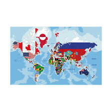 """WORLD MAP COUNTRIES FLAGS POSTER WALL DECOR 36""""x24"""""""