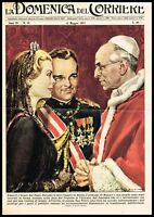 1957 Pope Pius XII meets the Prince and Princess of Monaco, Vintage Print