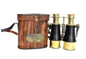 "Nautical Brass Victorian Marine Binocular With Leather Box  Antiquated 6"""