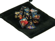 New 7 Piece Polyhedral Blend  Dark Blue Red Dice Set With Dice Bag D&D RPG