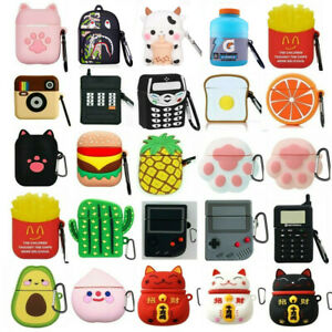 Cute 3D Cartoon Silicone Case For Airpods 2 1 Charging Cover Skin With Keychain