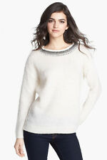 Hinge Women's Jewel Neck Textured Sweater-Ivory Size M $88