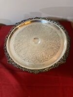 """Vintage Sheridan Ornate Silver Plated 12"""" Cake Stand 5.5"""" Tall"""
