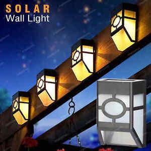 4/8/12x Led Solar Powered Wall Light Bright Outdoor Door Fence Garden Lights