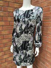 BIBA 100% SILK MONOCHROME TUNIC DRESS BNWT RETAIL £125 SIZE 8