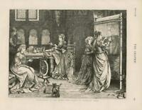 1873 - Antique Print NEEDLEWORK Olden Time Ladies Tapestry Work Dog   (088)