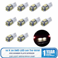 10x 20 SMD LED 501 T10 W5W Lado Número Placa Interior Coche Luz Bombilla Brillo