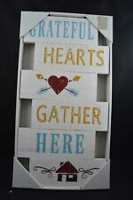 """18.5""""H Rustic Solid Wood Inspire Wall Sign Grateful Hearts Gather Here #9A"""