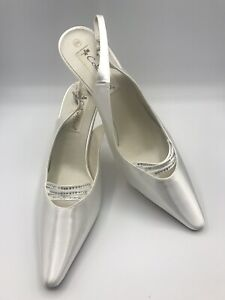 Coloriffics Divine Women's White Satin Dyeable Shoes Slingback Heel Rhinestones