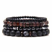 4Pcs/Sets Natural Energy Bracelets Beads Rock Onyx Stone Men Women Jewelry Gifts