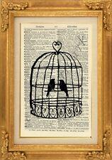 ORIGINAL - Bird Cage Print on Vintage Dictionary Page - Wall Art Print - NO.440B