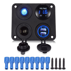4 Hole Panel+Dual USB Charger+Voltmeter+Power Socket+ ON-OFF Switch for Car Boat